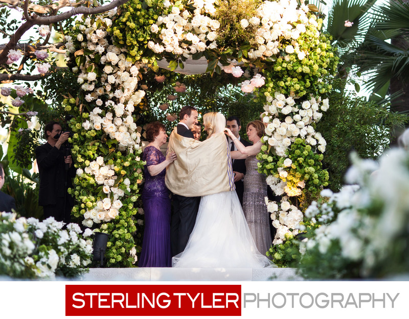 bride and groom with tallis beverly hills hotel wedding photographs