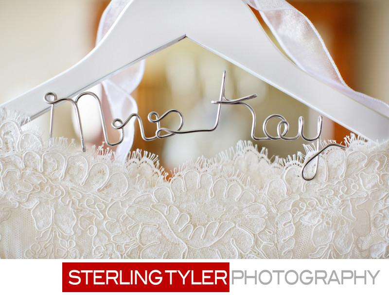 custom wedding dress hanger with brides name at sheraton universal