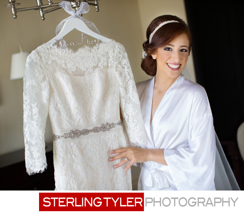 orthodox jewish bride with lace wedding gown at sheraton universal hotel