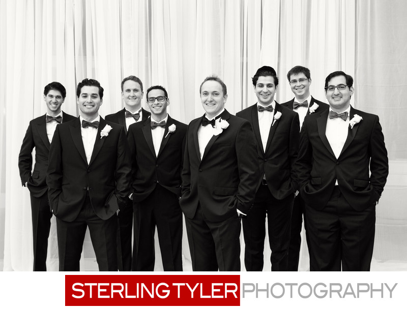 black and white bridal party portrait at sheraton universal hotel