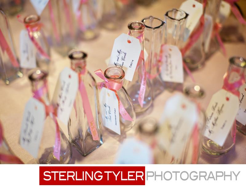 la wedding detail photograph place card table