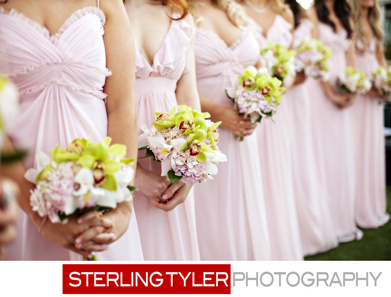 blush bridesmaid dresses with bouquets la wedding photos