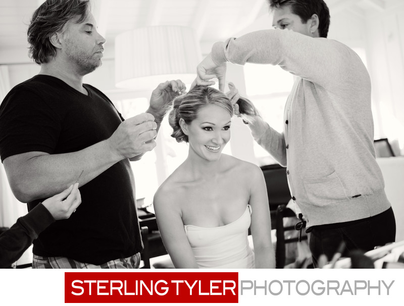 bride getting ready at hotel with daniel and brian from syndicate salon encino