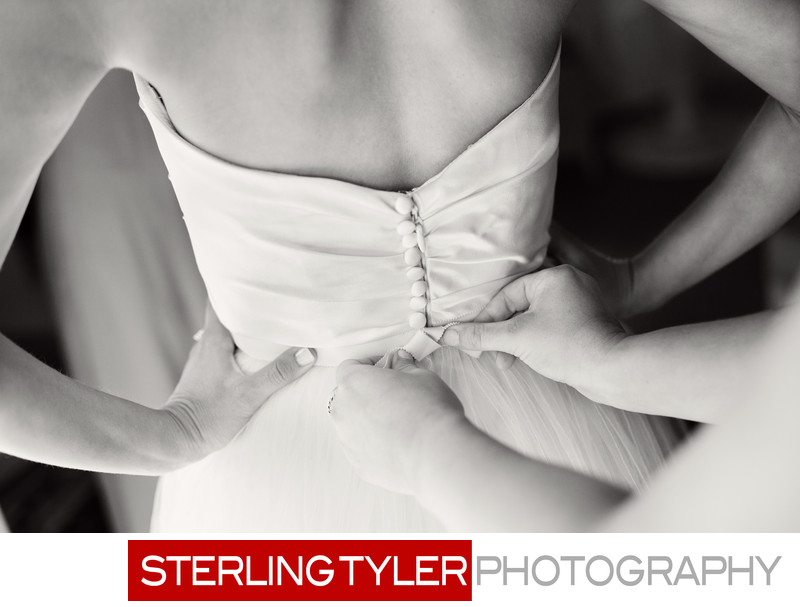 back of brides dress detail photo