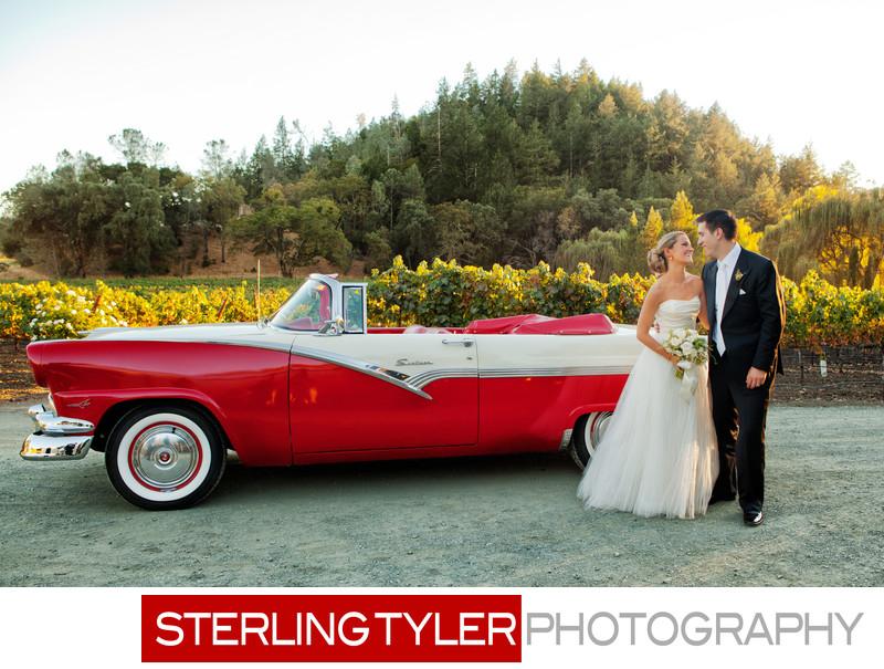 wedding portrait with classic car destination photographer