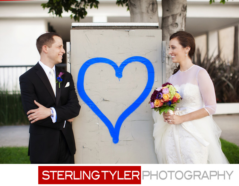 blue heart bride and groom wedding portrait