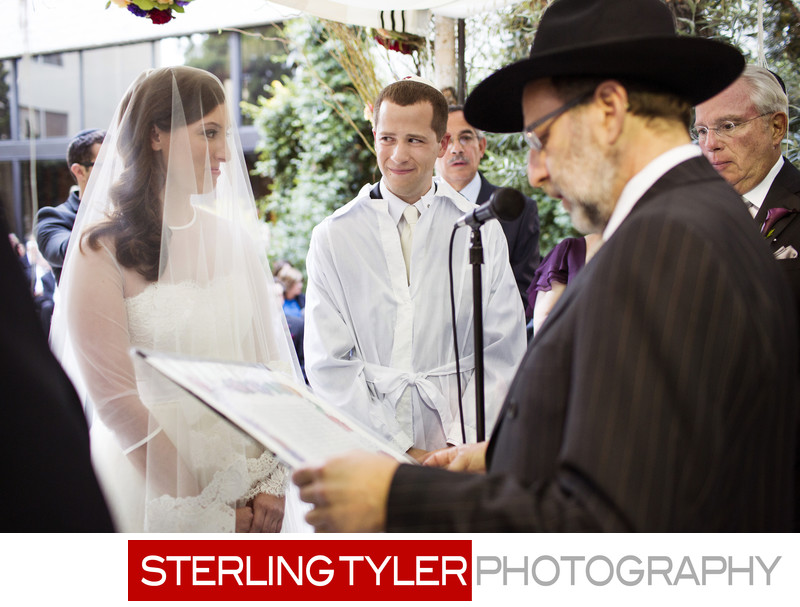 rabbi reading ketubah at jewish wedding los angeles