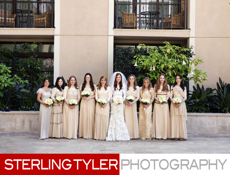 bride with brides maids in gold dresses at montage hotel