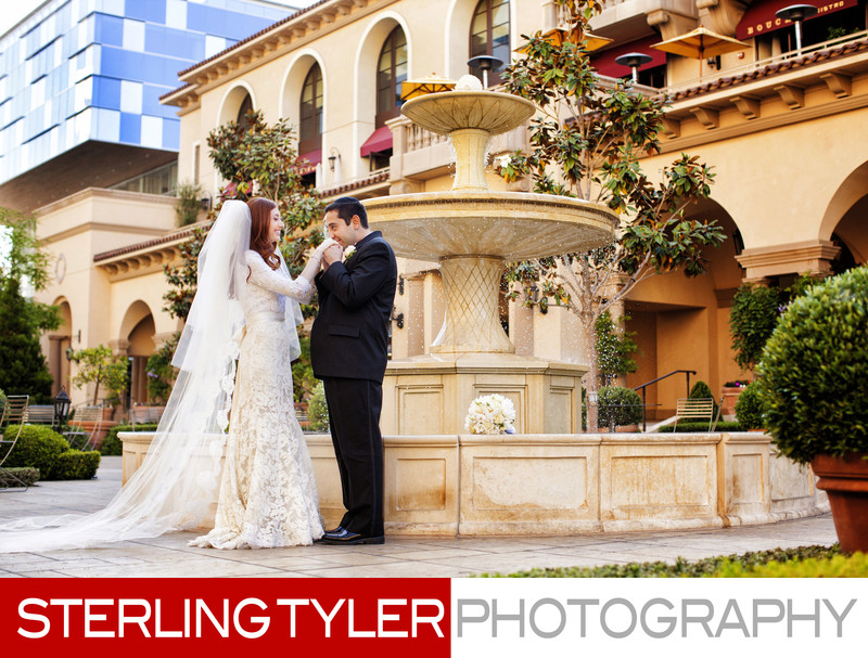 wedding portrait with fountain at montage hotel beverly hills