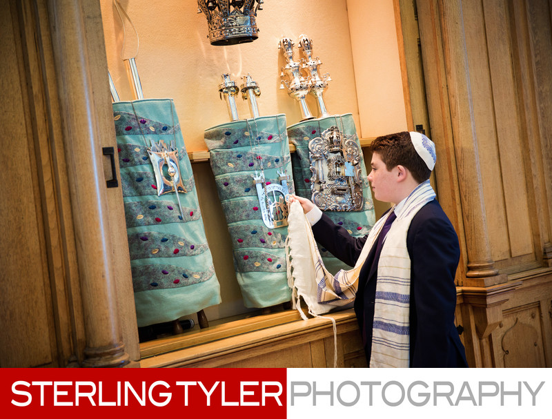 bar mitzvah portrait with torah at wilshire blvd temple