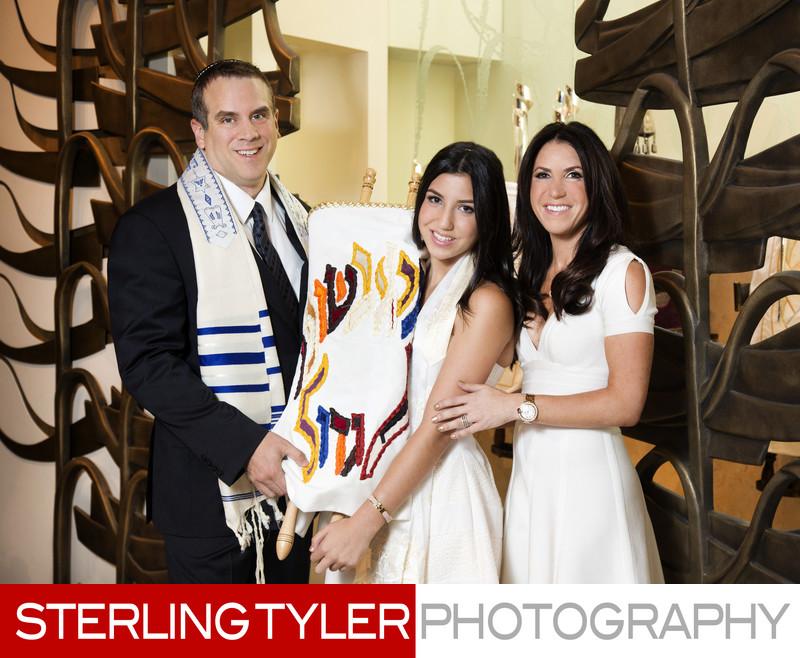 bat mitzvah family portrait with torah