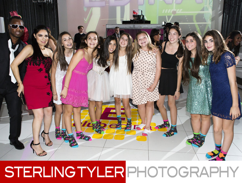 bat mitzvah girl with friends and custom socks