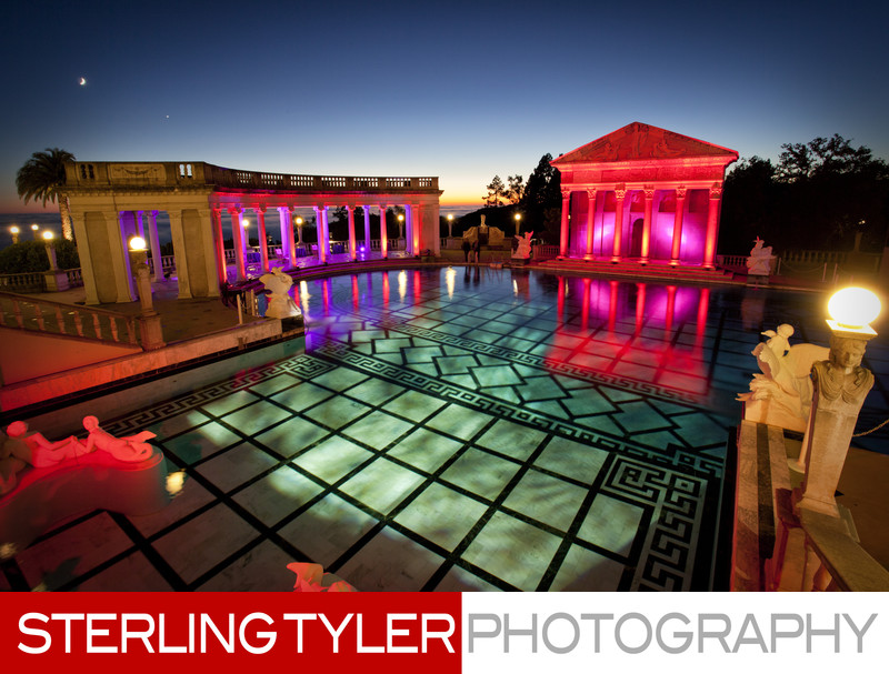 Corporate Event at Neptune Pool at Night at Hearst Castle