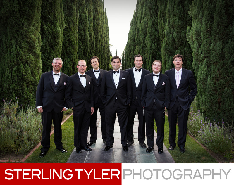groom with groomsmen greystone mansion wedding photography