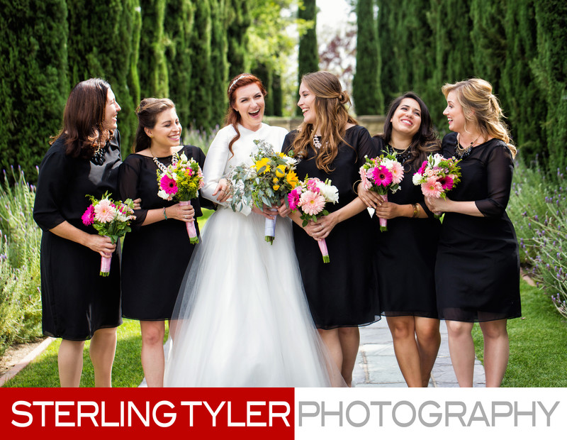bride with bridesmaids at greystone mansion in beverly hills