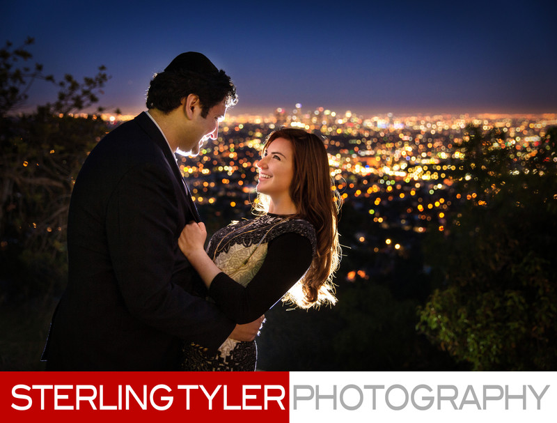 sunset griffith park observatory portrait with skyline and downtown los angeles