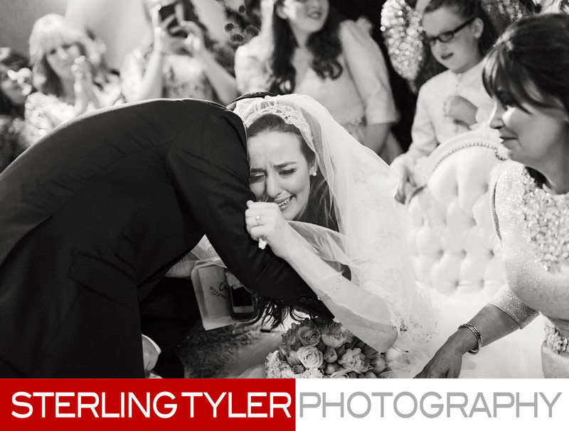 bride crying with groom jewish wedding photographer