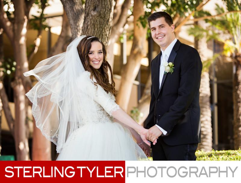 bride and groom portrait in garden jewish wedding photographer