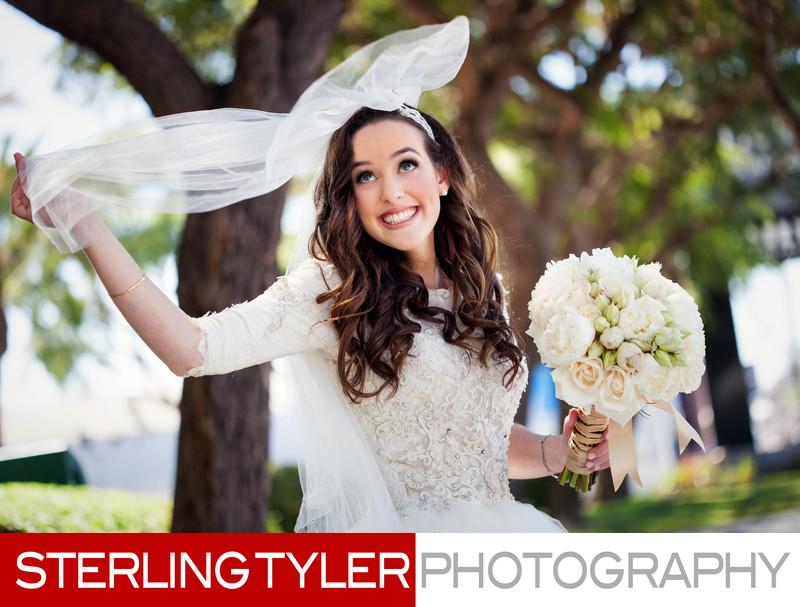 fun bridal portrait los angeles wedding photographer