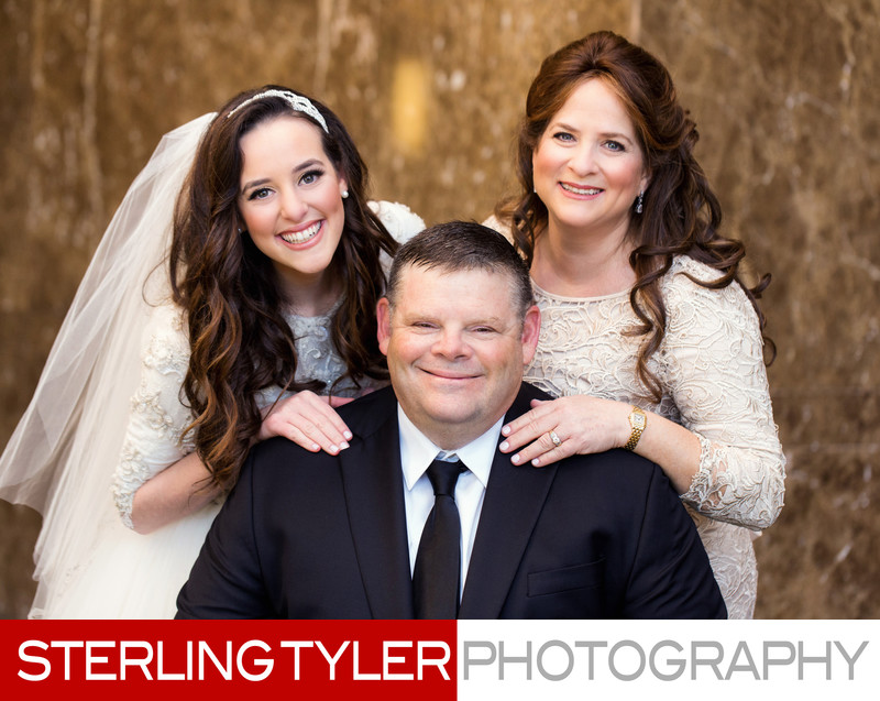 bride with parents los angeles jewish wedding photographer