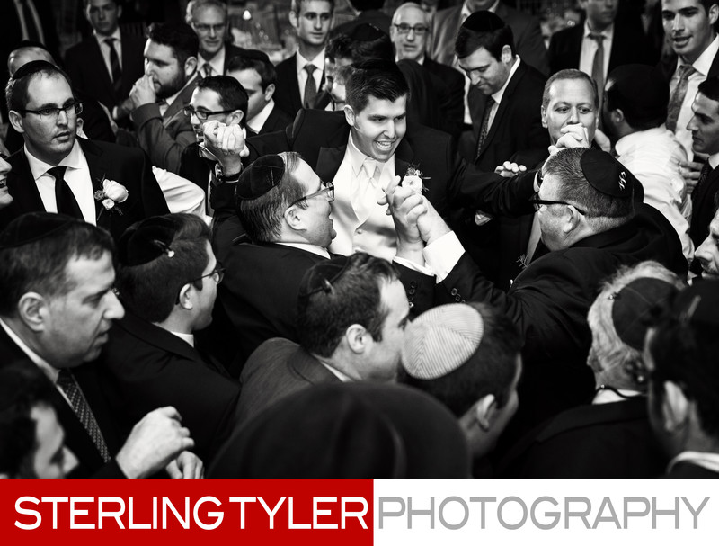 groom dancing with friends at jewish wedding los angeles
