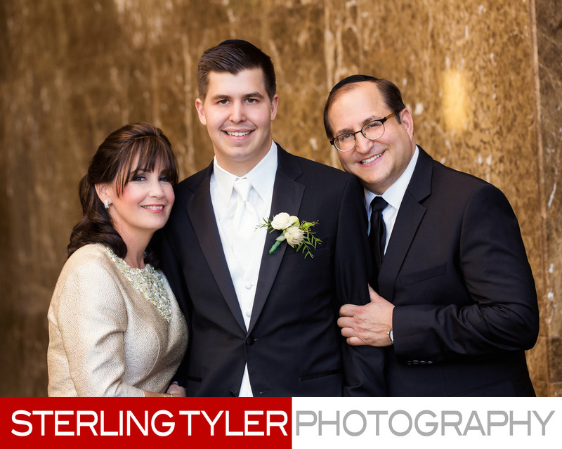 groom with parents los angeles wedding portrait