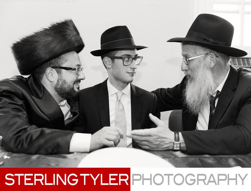 orthodox jewish chosen (groom) at tish during frum wedding
