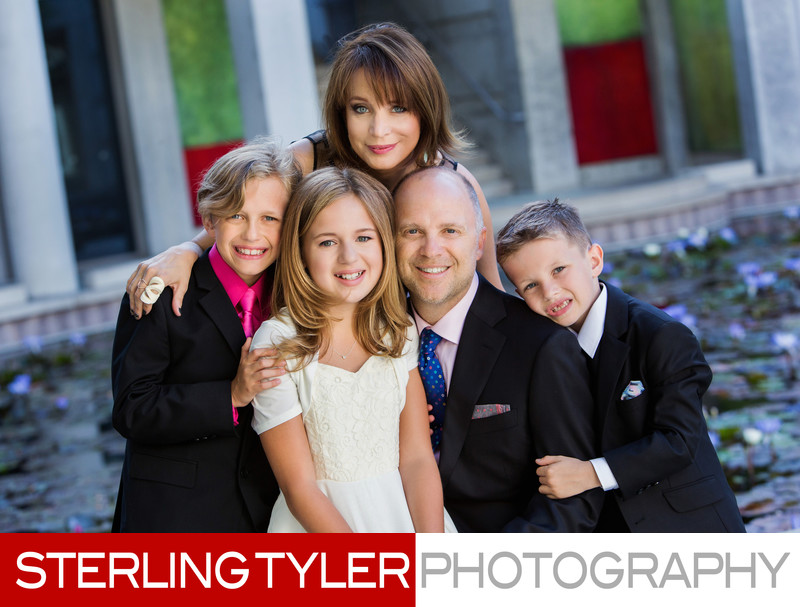 family portrait at skirball center in los angeles
