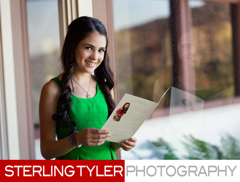 bat mitzvah girl poses for portrait at mountaingate country club