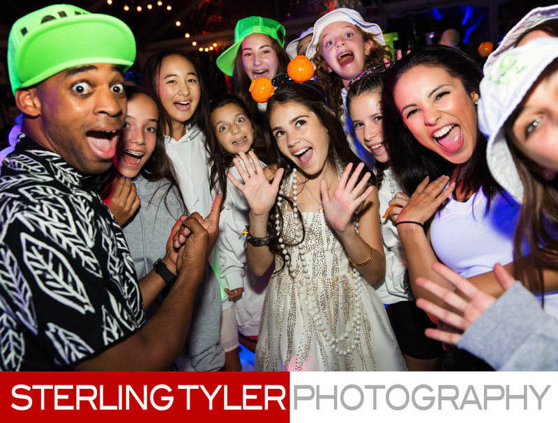 CheckOne2 Dancers pose with Bat Mitzvah girl for photo
