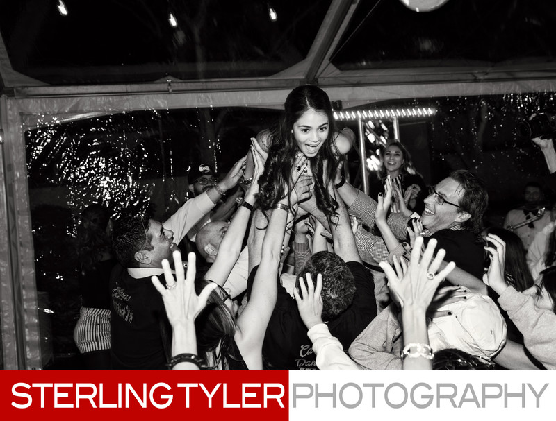 bat mitzvah crowdsurfing black and white photo