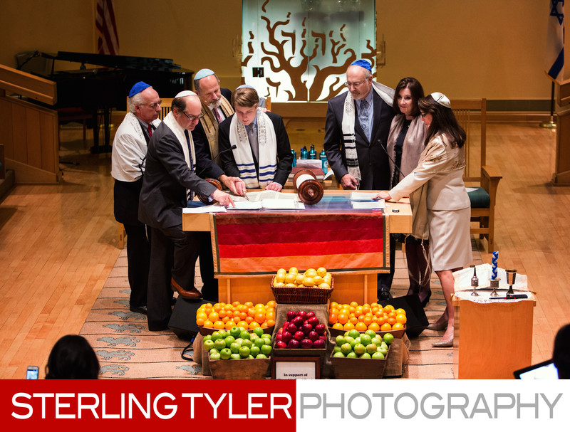 bar mitzvah service with torah