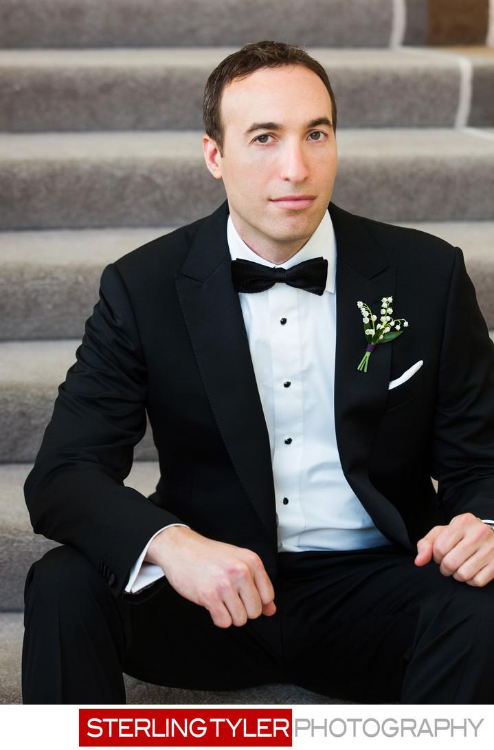 handsome groom wedding portrait beverly hills hotel