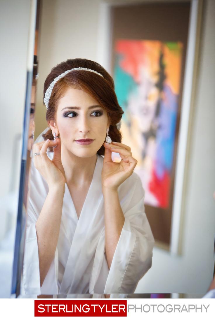 bride getting ready at sheraton universal hotel