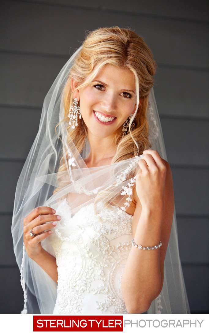bridal wedding portrait with veil and jewelry