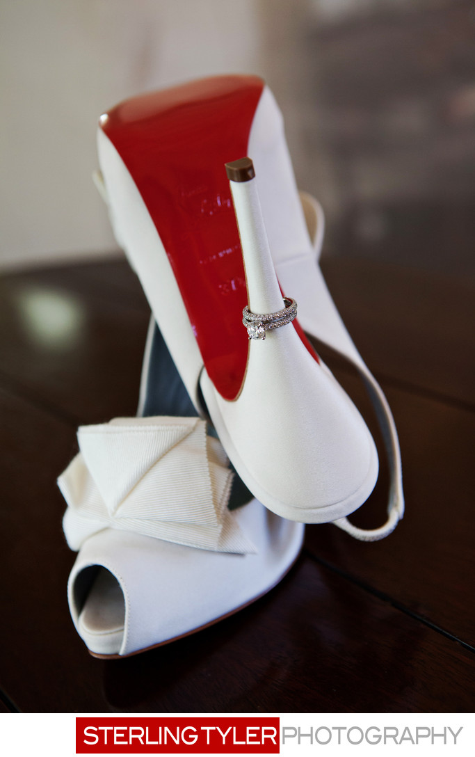 louboutin bridal shoes with diamond ring detail photo