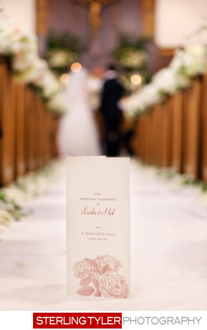 wedding program st helena chuch napa valley california
