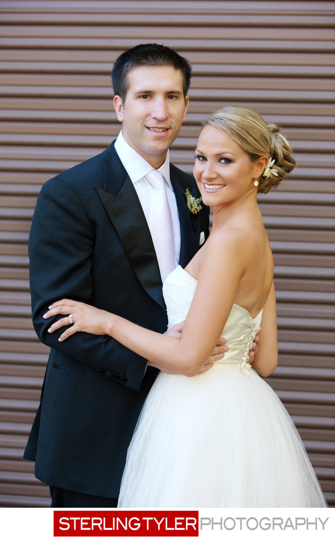 bride and groom artistic architectural portrait