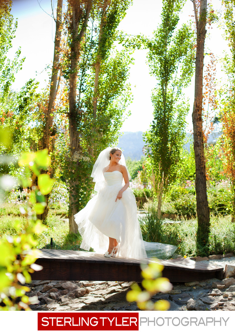 bride in christian louboutin shoes in napa valley black swan estate