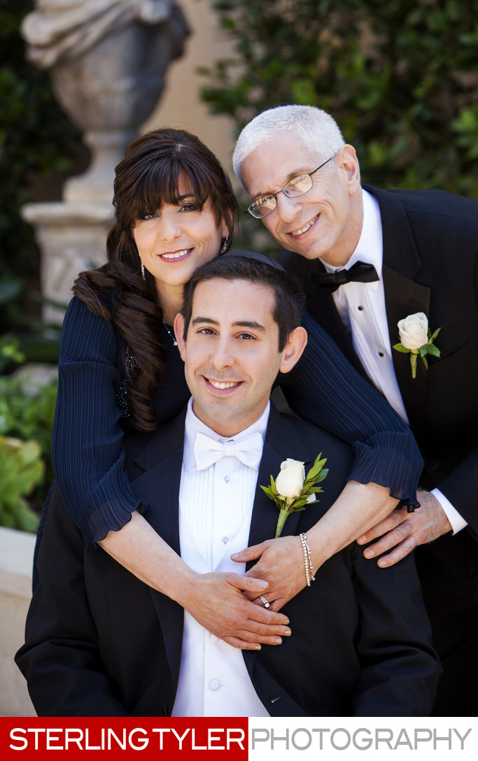 groom with his parents at montage beverly hills