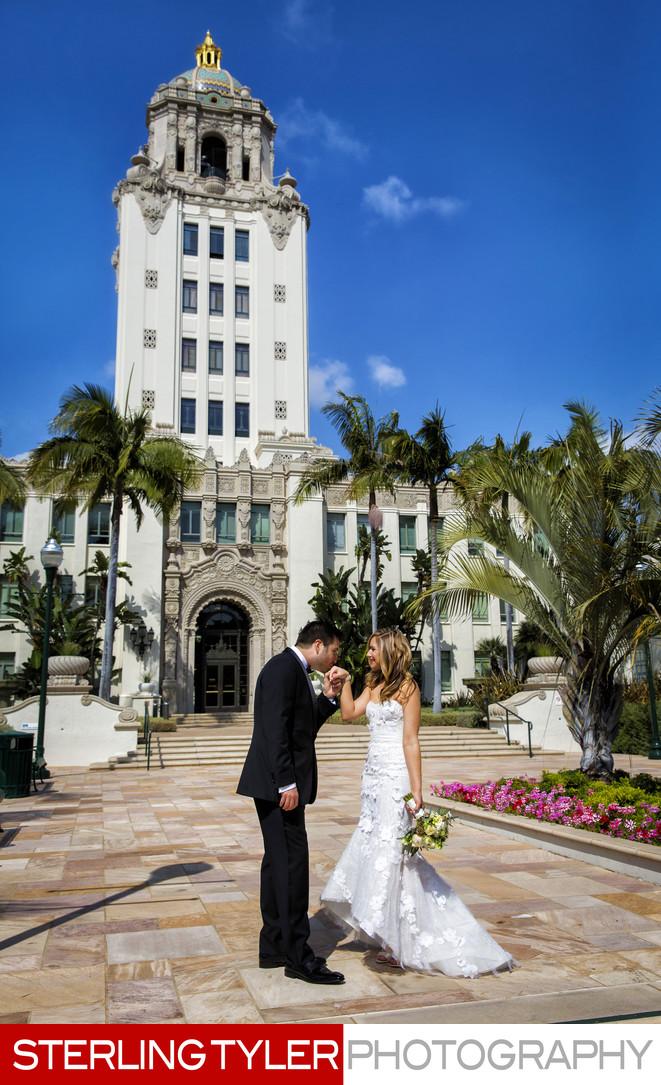 beverly hills wedding portrait beverly hills city hall