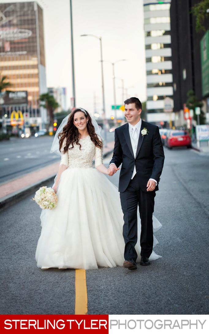 candid wedding portrait in los angeles