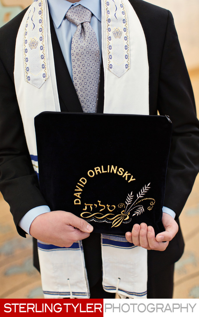 bar mitzvah boy with tallis and custom tallis bag