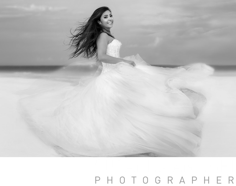 Bride alone no wedding day at Tulum beach, trash the dress photo session