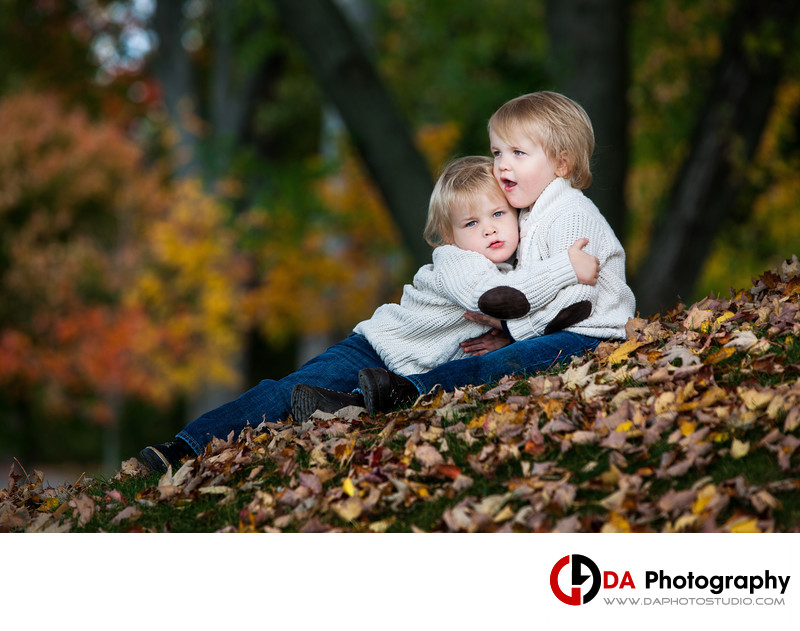Fall Portrait od a Twin Brothers at Paletta Mansion