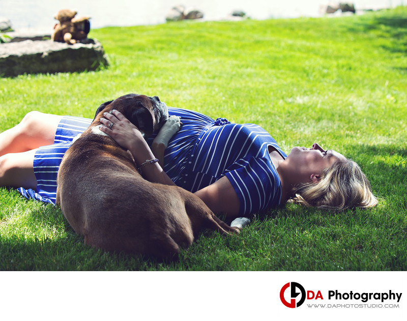 Maternity Portrait with Dog in Peterborough