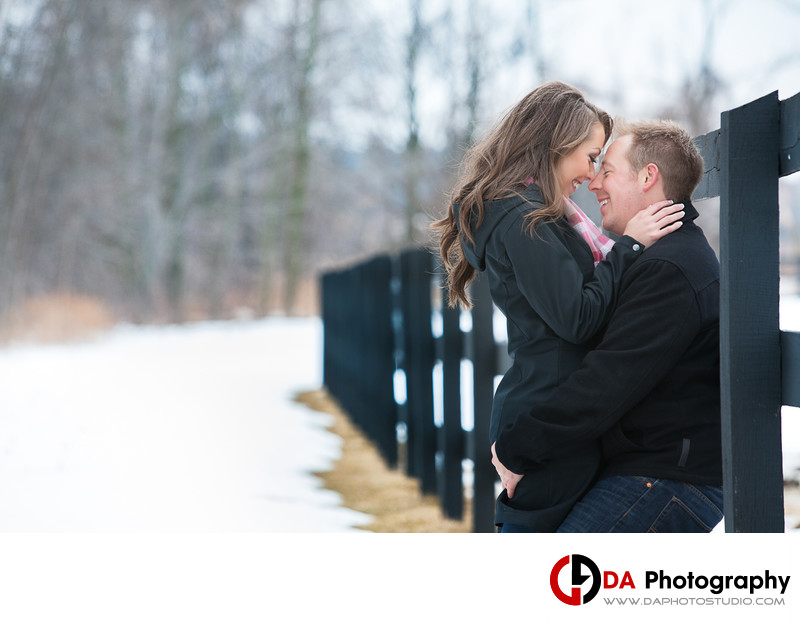 Engaged Couple Winter Session at Parish Ridge Stables