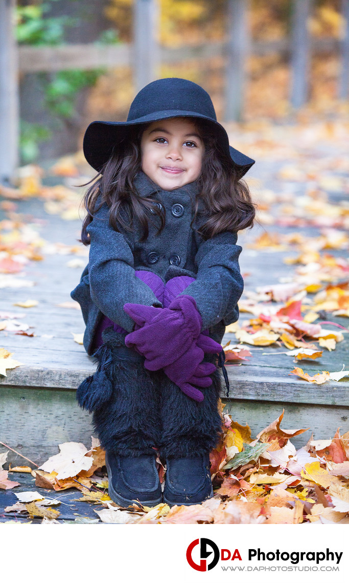 Little Girl Portrait in Fall at Heart Lake Conservation