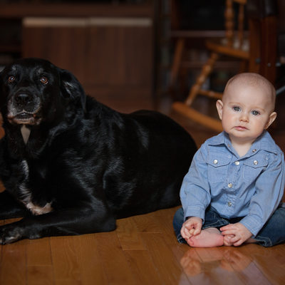 Baby and Dog Portrait in Georgetown