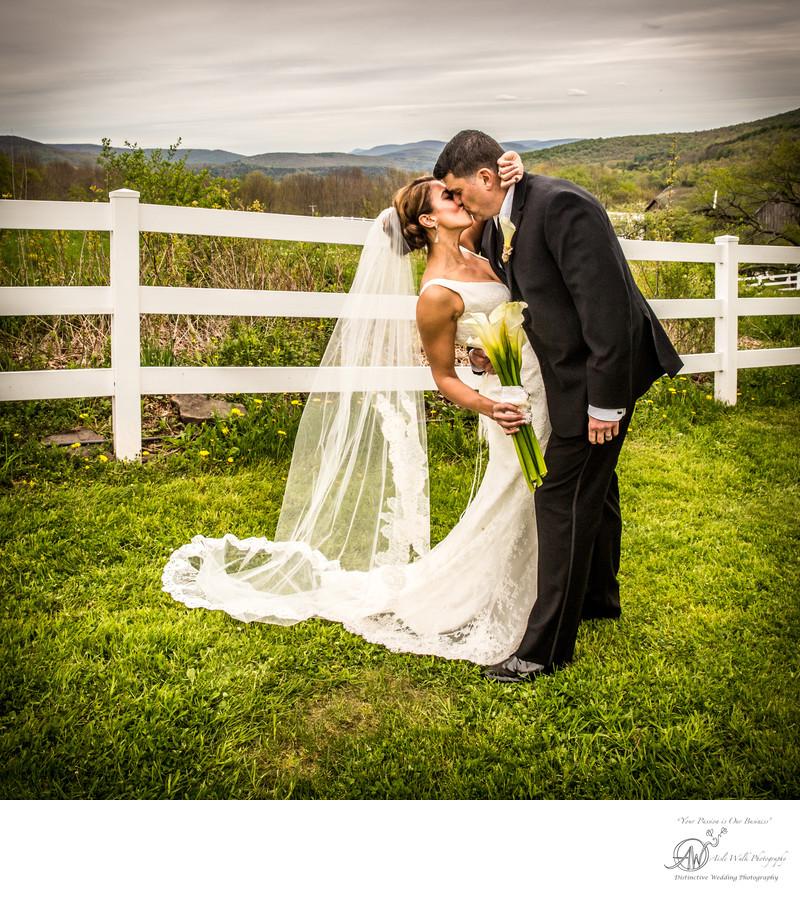 Stone Tavern Farm Roxbury NY -  Wedding Day Kiss